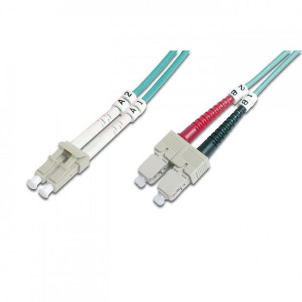 Intellinet Fiber optic patch cable LC-SC duplex 5m 50/125 OM3 multimode