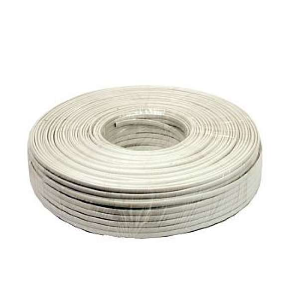 Gembird flat telephone cable stranded wire 100m, white