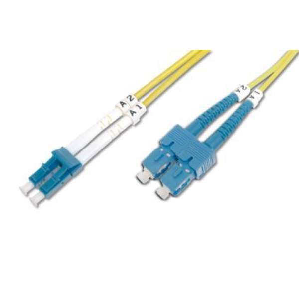 DIGITUS Fiber Optic Patch Cord, duplex SM 9/125 LC / SC 3m