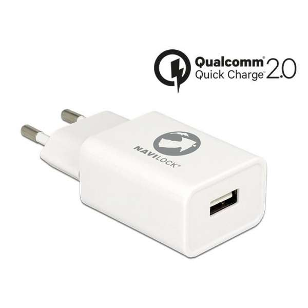 Delock Charger 1 x USB type A with Qualcomm Quick Charge 2.0 white