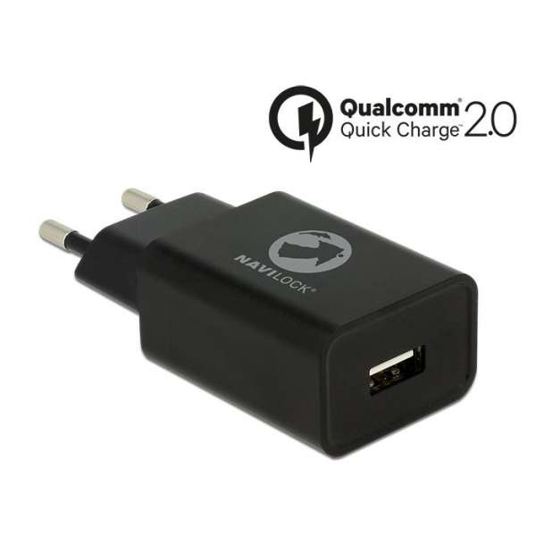 Delock Charger 1 x USB type A with Qualcomm Quick Charge 2.0 black