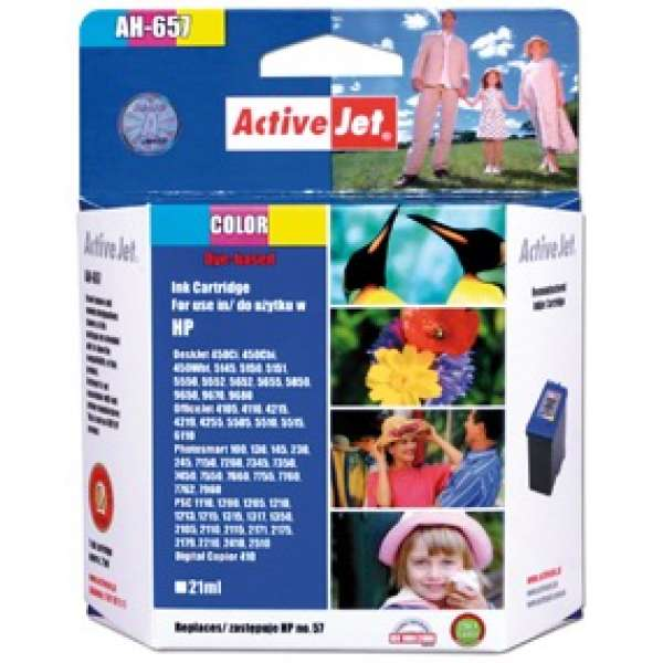 Ink ActiveJet AH-657 | Color | 21 ml | Refill | HP C6657A