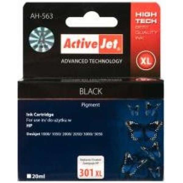 Ink ActiveJet AH-563 | Black | 20 ml | Refill | HP CH563EE