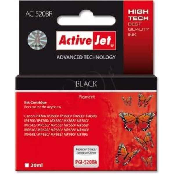 Ink ActiveJet AC-520BR | black | 20 ml | Canon PGI-520BK