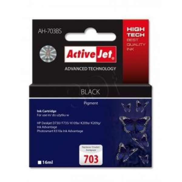 Ink ActiveJet AH-703BS | black | 16 ml | HP HP 703 CD887AE