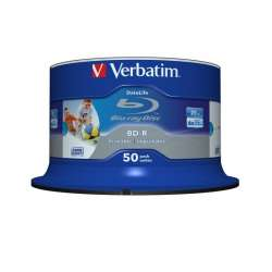 BD-R Verbatim SL DATALIFE 6X 25GB 50PK SPINDLE WIDE PRINTABLE NO ID (43812)
