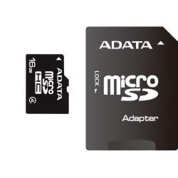 Secure Digital Card micro SDHC 16GB class4 ADATA, adaptor SD (AUSDH16GCL4-RA1)