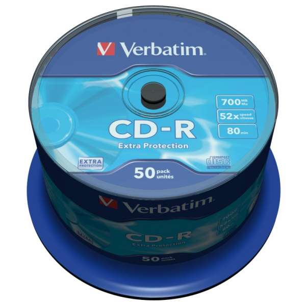 CD-R Verbatim DATALIFE 52X 700MB 50PK SPINDLE EXTRA PROTECTION (43351)