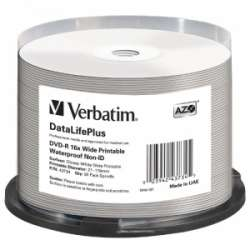 BLANK  DVD-R Verbatim .DL+ 16X 4.7GB  50PK SPINDLE WIDE GLOSSY WATERPROOF PRINTABLE SURFACE NON-ID