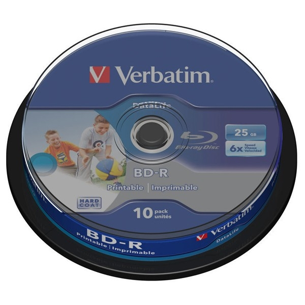 BD-R Verbatim SL DATALIFE 6X 25GB 10PK SPINDLE WIDE PRINTABLE NO ID (43804)
